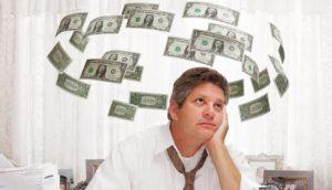Άνθρωπος σκέπτεται χρήματα